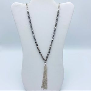 Tassel Silver Tone Beaded Statement Necklace